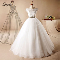 Liyuke Gorgeous Applique Tulle Sweetheart Ball Gown Wedding Dress With Lace Applique Sweep Train Vestido De