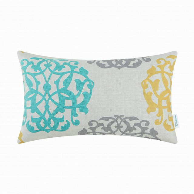 Calitime Decorative Pillows Shell Cushion Covers Home Sofa Car Fl Geometric Teal Gray 12 X