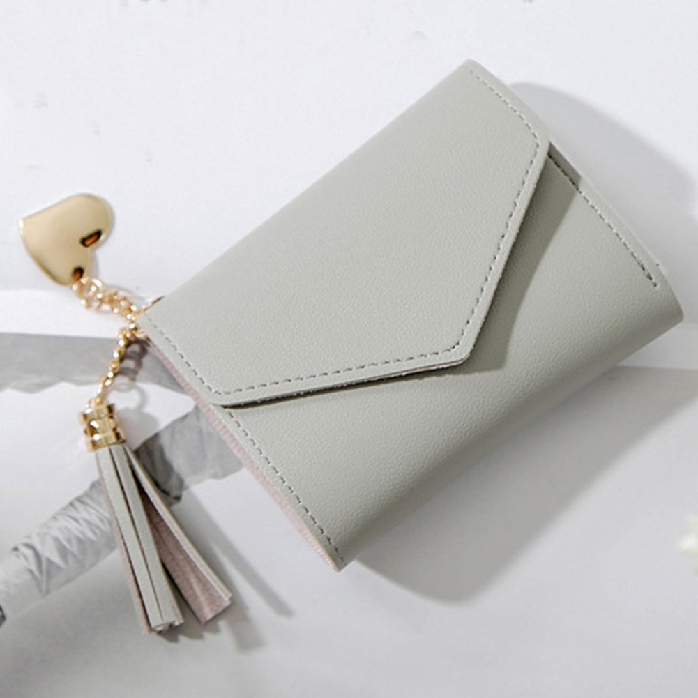 Women Purses Tassel Wallet Fashion Solid Short Hasp Pendent Zipper Credit Cards