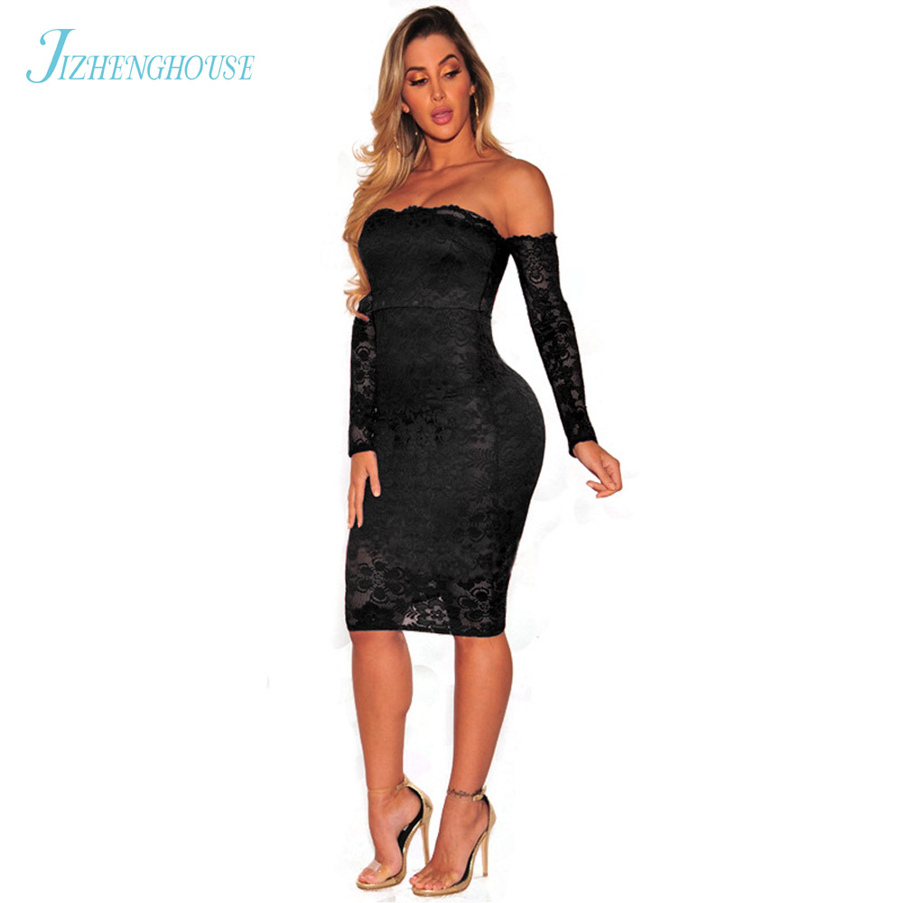 JIZHENGHOUSE Off Shoulder Midi Dress Elegant Slash Neck Lace Bodycon Sexy Party Dress Vestidos