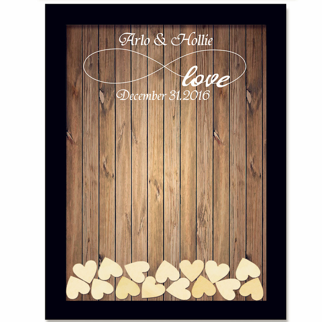 Rustic Wedding Guest Book With 120pcs Small Hearts Decoration
