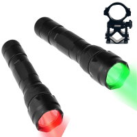 2 Flashlights UniqueFire WF 502B RED And GREEN LED Hunting Light Tactical Flashlights With Gun Mount