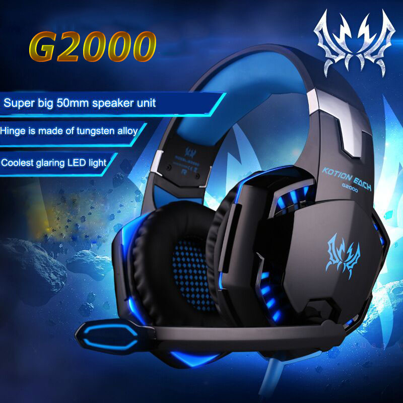 G2000 Gaming Headset Wired Earphone Gamer Headphone With Microphone LED Noise Canceling Headphones for Computer PC g1100 3 5mm pro gaming headset headphone for ps4 laptop crack pattern led led blue black red white