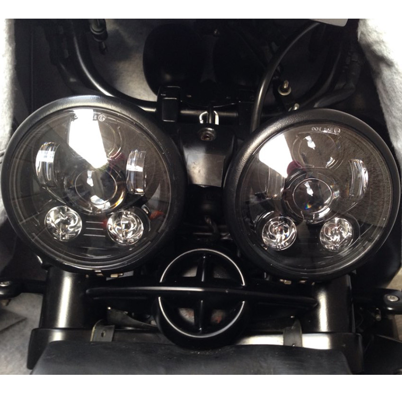 2pcs 5.75inch Black LED Motorcycle Headlight 45W Hi/Low Beam LED Projector Daymaker For harley 7inch 75w motorcycle black hi lo beam projector daymaker led chips headlight for harley