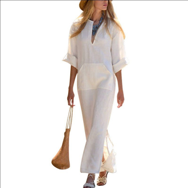 ROPALIA Women Plus Size Kaftan Vestidos Summer Vintage Linen Dress Sexy Deep V-Neck Dress Long Sleeve Split Long Maxi Dress