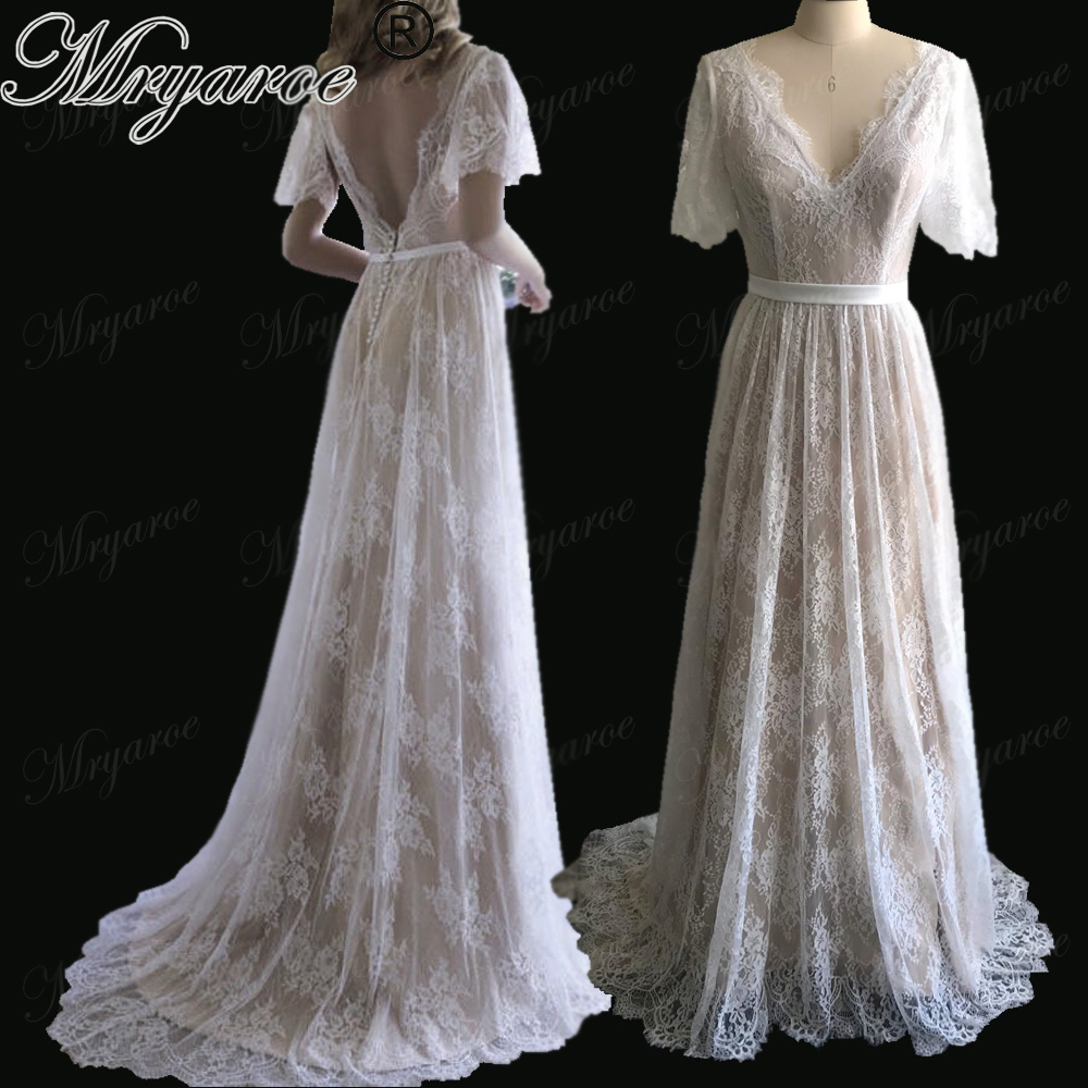 Mryarce New Arrival Flare Sleeves Lace Bohemian Garden Wedding Dress V Neck A Line Open Back