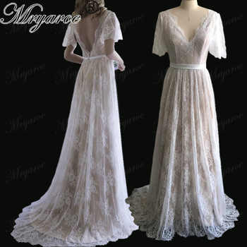 Mryarce New Arrival Flare Sleeves Lace Bohemian Garden Wedding Dress V Neck A Line Open Back Boho Bridal Gowns - DISCOUNT ITEM  15% OFF All Category