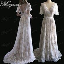 Mryarce nova chegada alargamento mangas rendas boêmio jardim vestido de casamento v pescoço a linha aberta voltar boho vestidos de noiva