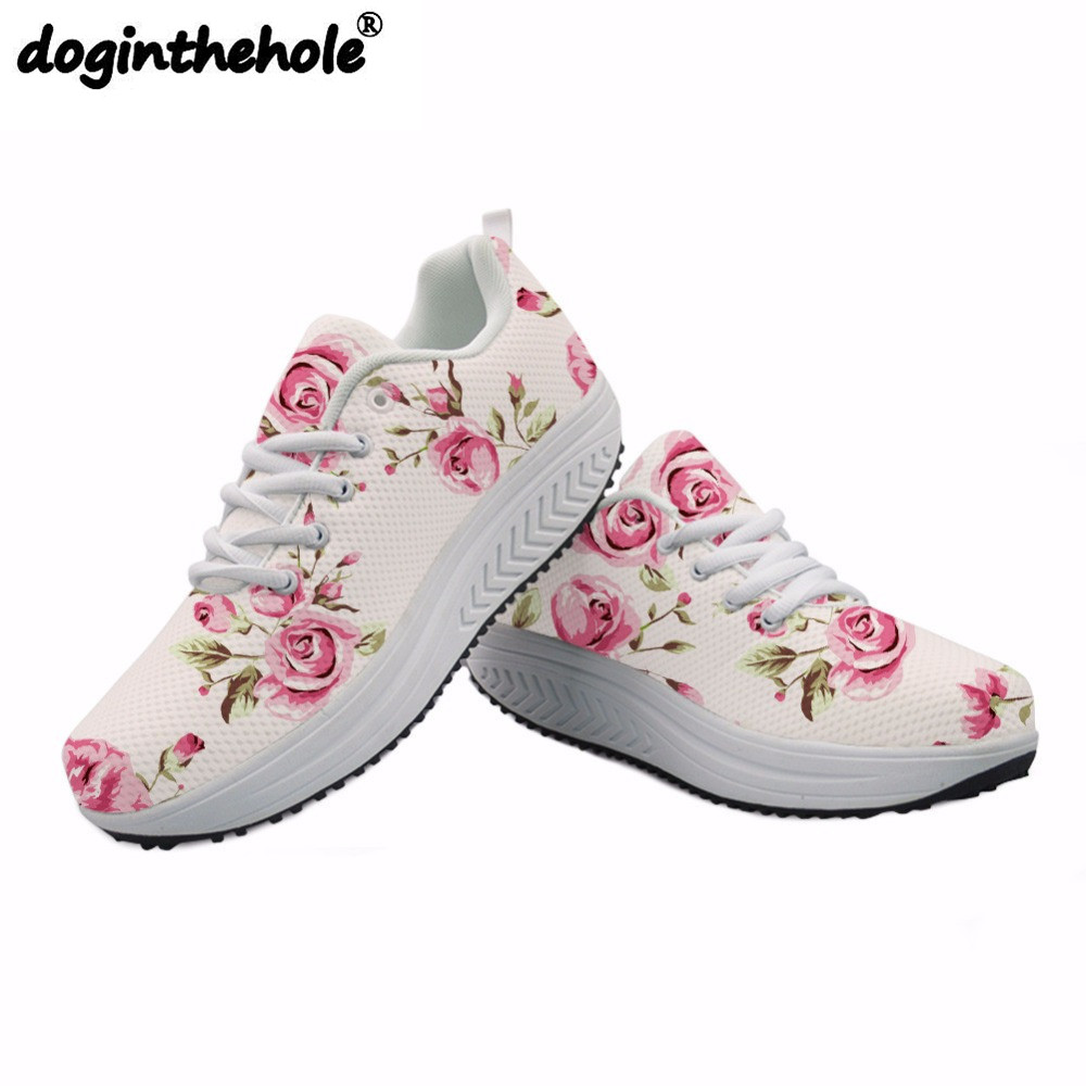Sport Shoes Retro Floral Printing