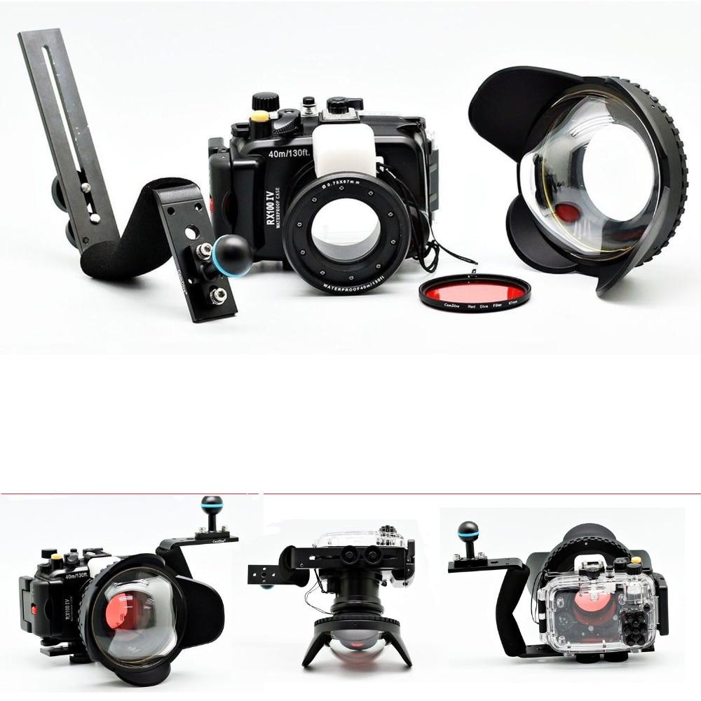 Meikon 40m/130ft Underwater Camera Housing Case for Sony RX100 IV/RX100 M4,Waterproof Bag Case+Fisheye Lens+Diving handle+Filter meikon бокс meikon для sony rx100 iii