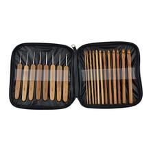 купить 20pcs/Set Bamboo Crochet Hooks Set  Knitting Needles Knit With Bag Crafts Sweater Scarf Hat Tool Weave Yarn for Knitting Tools онлайн