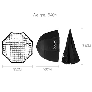 "Image 2 - Godox Portable 95cm 37.5"" Octagon Umbrella Softbox with Honeycomb Grid,Light Stand,Hot Shoe Holder Bracket for Flash Speedlight"