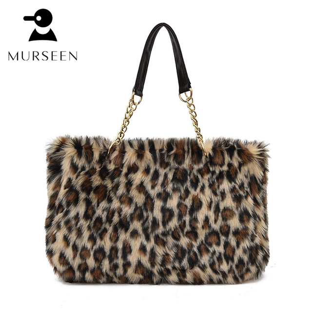 2017 Winter Luxury Brand Women Handbags Faux Fur Leopard Bags Designer High Quality Sac A