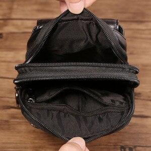 Image 5 - Bolsa de cintura masculina crossbody fanny bolsa de couro genuíno moda celular caso do telefone móvel mensageiro bolsa de ombro masculino cinto gancho pacote