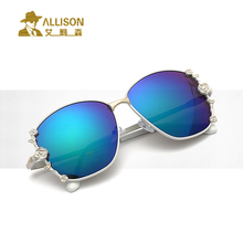 allison A2224 Border embellishment flower fashion sunglasses women Large frame color lens retro sun glasses With original box Ga