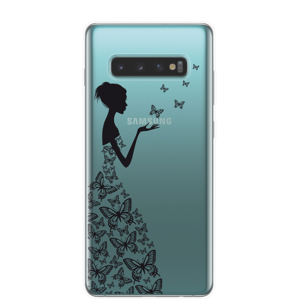 Cartoon Butterfly Pattern Soft TPU Silicone Phone Back Case Cover For Samsung Galaxy S10 S10E S10 Plus 5G M10 M20 Flower Coque