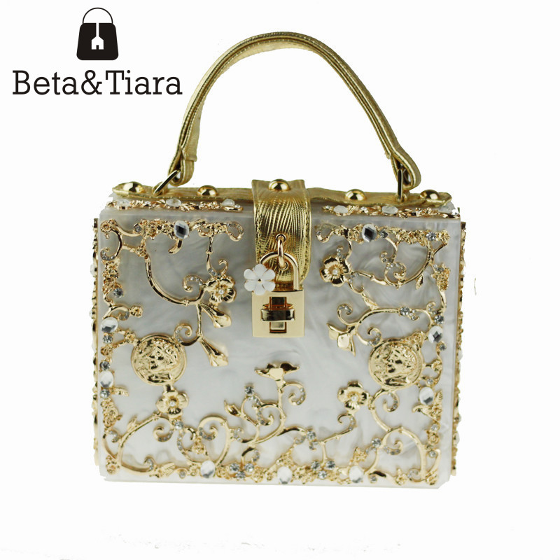Fashion Women Evening Bag White Acrylic Clutch Hollow Gold Flower Ballot Lock Prom Luxury Handbag Party Purse Shoulder Bag fashion box evening bag oil painting flower black lock clutch bag strap mini tote bag ladies purse trunk white women handbags