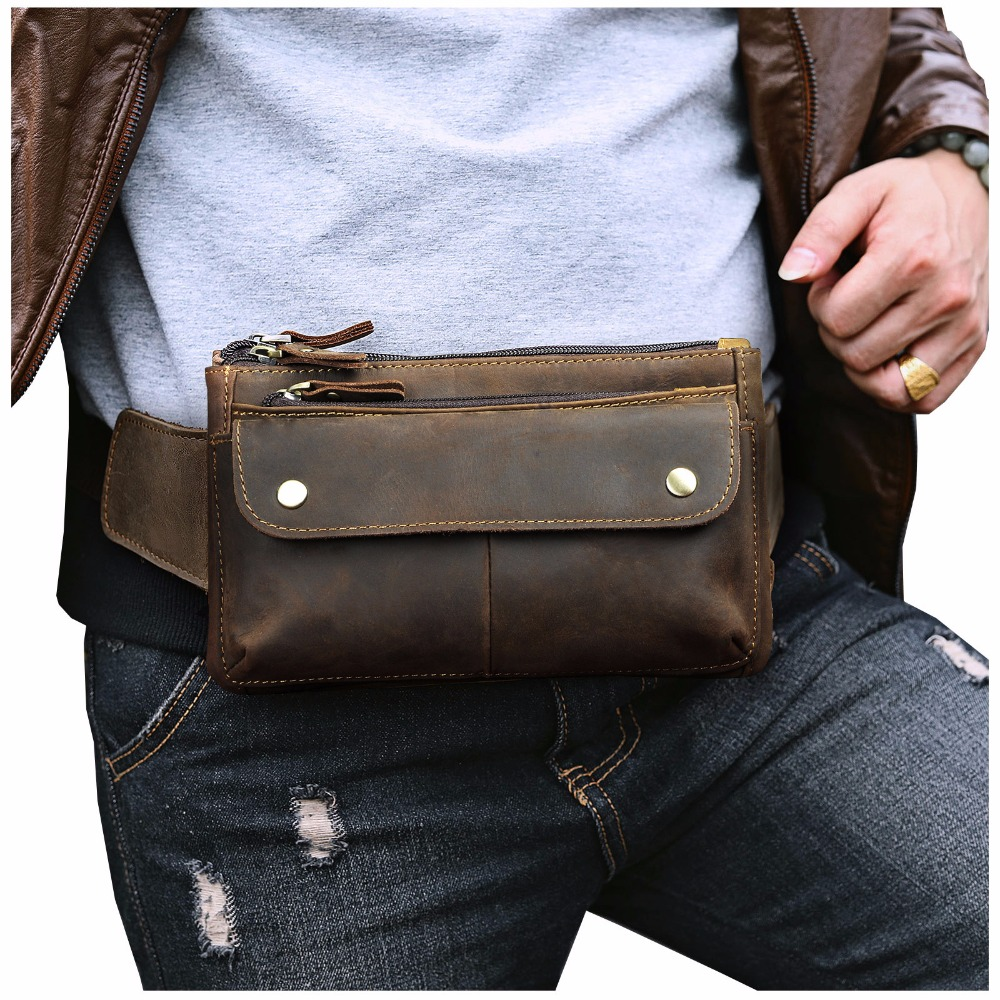 Quality Leather Men Casual Design Waist Belt Bag Chest Pack Fashion Cowhide Travel 7