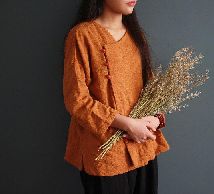 Women Cotton linen Shirts Cardigans Female Solid Color Nine Quarter Sleeve Irregular Hem Blouse Ladies Vintage