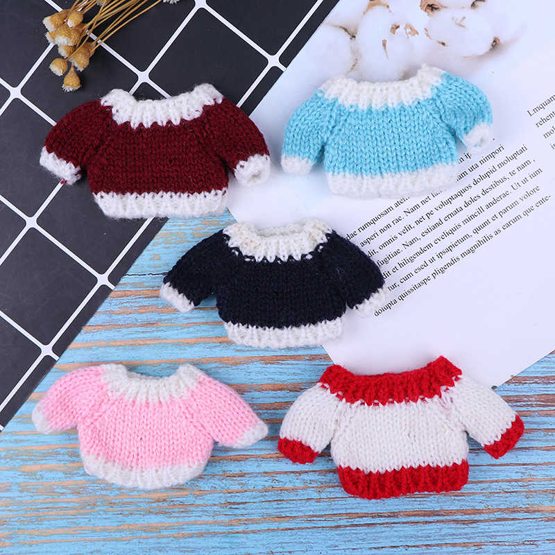 1PCS Miniature 1/12 Dollhouse Accessories New Clothes Sweater for Blythe Doll Knitted Woven Tops