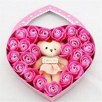 달콤한 심장 모양의 비누 꽃 작은 곰 선물 상자 장미 향기 파티 호의 로맨틱 발렌