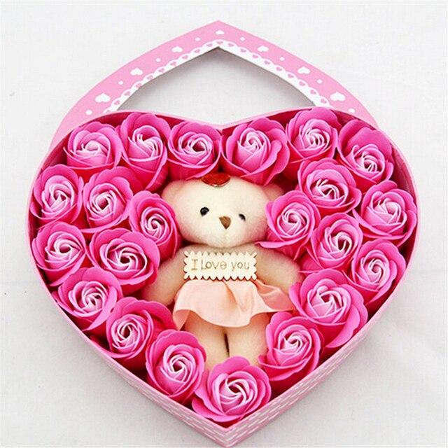 Sweet Heart shaped Soap Flower Little Bear Gift Box Roses ...