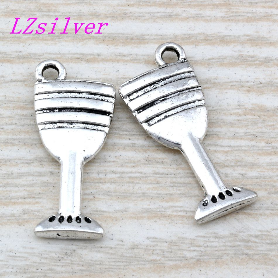 50pcs Ancient silver Alloy Goblet Wine Glass Cup Charm Pendant 12x28mm DIY Jewelry A-112
