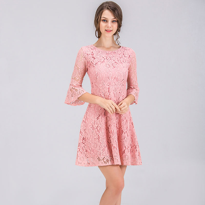 summer horn sleeve lace dress 2019 party korean style elegant pink new arrival short women fashion cheap clothes china elegant in Dresses from Women 39 s Clothing