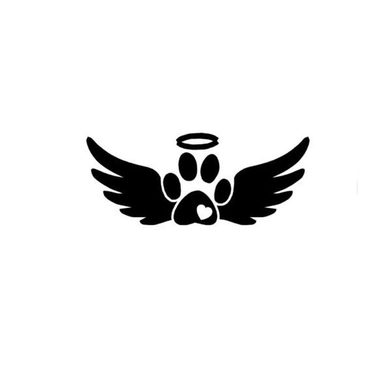 15cm 6cm Angel Wings Dog Paw Vinyl Fashion Car Sticker