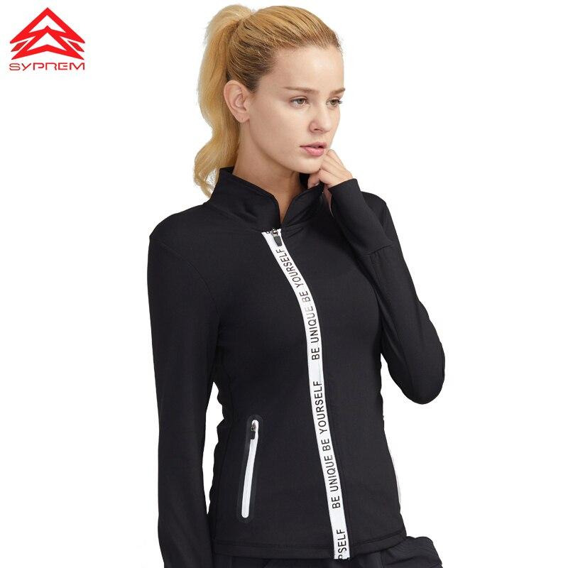 Syprem бег куртка Спортивная Йога для женщин тренировки дышащие куртки спортивное пальто фитнес тренировки куртка, 1FT1041