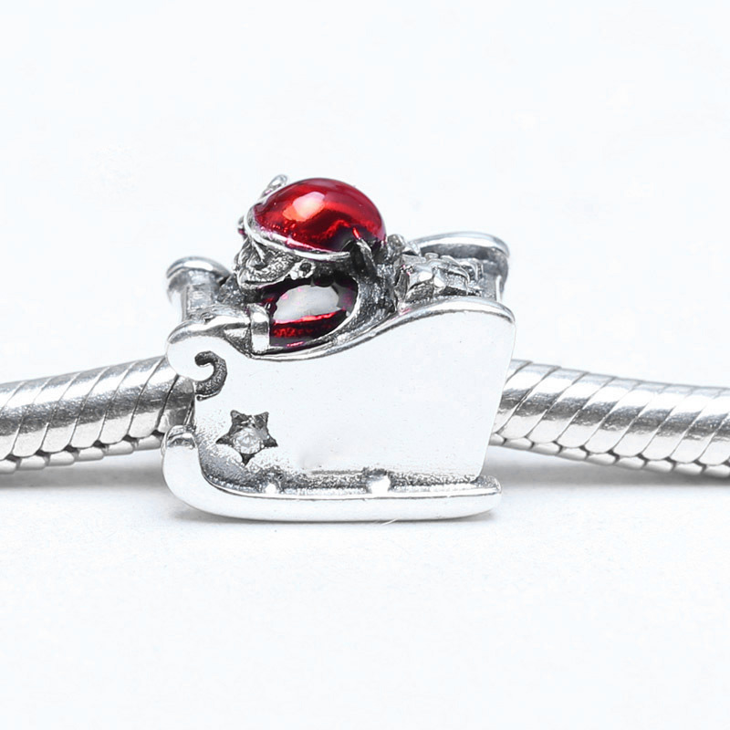 Methodical 925 Sterling Silver Charms Bead Red Santa Claus Sled Diy Beads For Original Pandora 925 Sterling Silver Bracelets Bangles Xcy058 Lovely Luster