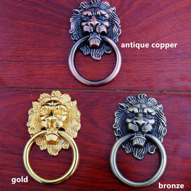 90mm vintage style lionhead furniture door handles bronze antique copper golden lionhead drawer shoe cabinet dresser knobs pulls css clear crystal glass cabinet drawer door knobs handles 30mm