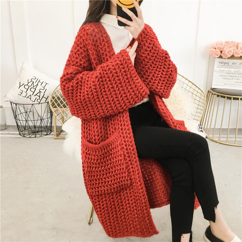 Vintage Loose Green Sweater Winter Thicken Female Cardigan Feminine Coat Knit Cardigan for Women Long Korean Red Lady 39 s Sweater in Cardigans from Women 39 s Clothing