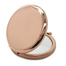 Карманное зеркало компактное зеркальце для макияжа в сложенном виде портативное маленькое круглое зеркало ручное косметическое металлическое косметическое розовое золото 70 мм