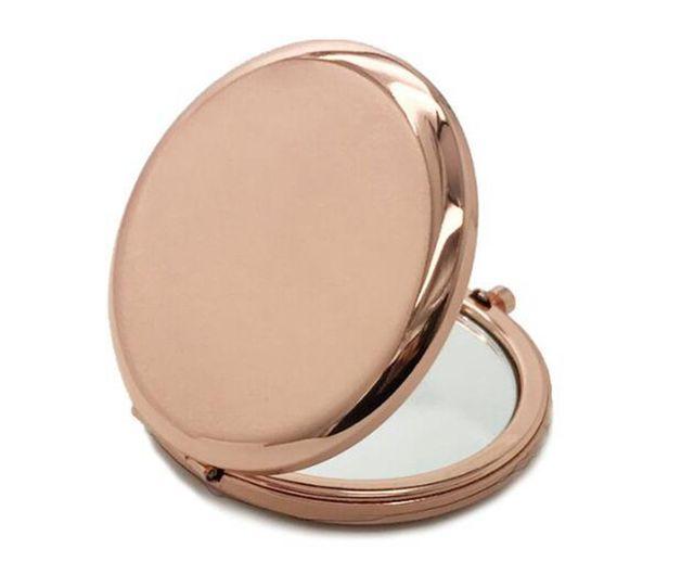 Карманное зеркало компактное зеркальце для макияжа складное портативное маленькое круглое зеркало ручное косметическое металлическое косметическое розовое золото 70 мм