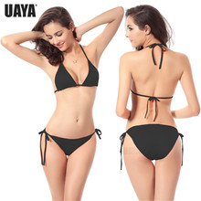 UAYA 2019 New Summer Women Solid Bikini Set Push-up Unpadded Bra Swimsuit Swimwear Triangle Bather Suit Swimming biquini
