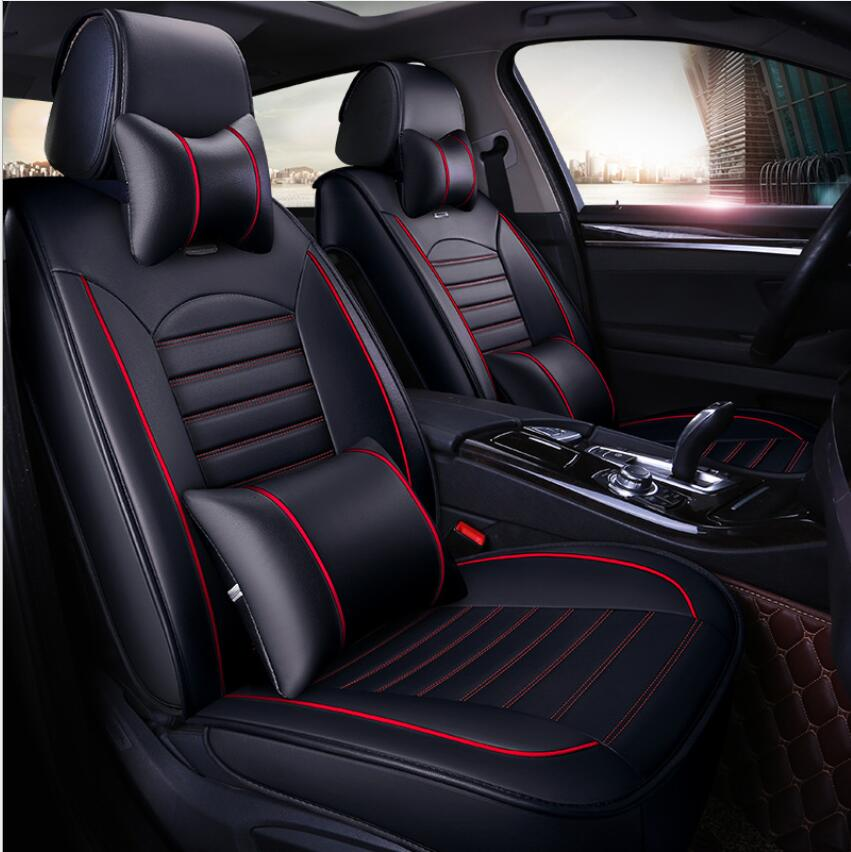 Four Seasons Auto >> Us 84 73 31 Off 5 Seats Set Pu Leather Car Seat Covers Universal Four Seasons Auto Cushion For Volkswagen Toyota Audi A4 Rav4 Mercedes All Model In