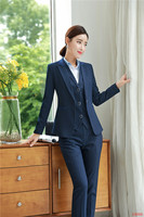 2019 Formal Elegant Women's Office Lady Pants Suit Navy Blue Blazer Women Business Suits 3 Piece Pant Jacket and Vest Suit Sets
