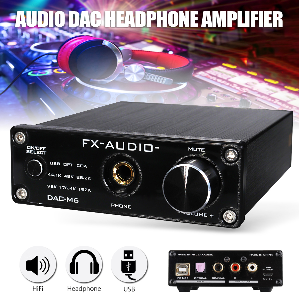 цена Mini USB HiFi Audio Decoder Headphone Amplifier 6.5mm Interface HIFI tube amplifier USB FX-AUDIO Audio Decoder онлайн в 2017 году