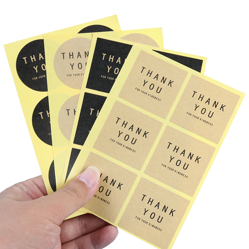 Label Thank You Round Square Black Kraft Paper Color Sealing Paste Baking Biscuit Bag Decorative Seal Sticker 60pcs / 10 Sheets