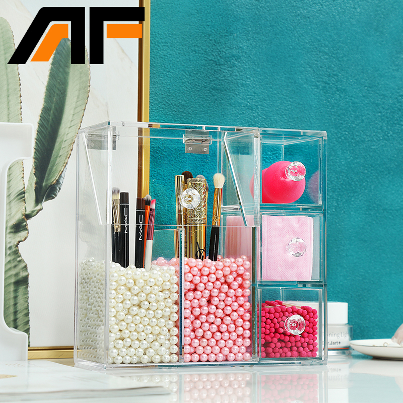 AF Clear Acrylic Home Supplies Organizer Box Desktop Plastic 5 Grids Home Office Storage For Desk Without Pearls C170 2