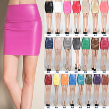 Women Mini Faux Leather Solid Pencil Skirts High Waist PU Slim Short Skirt Bottoms Female