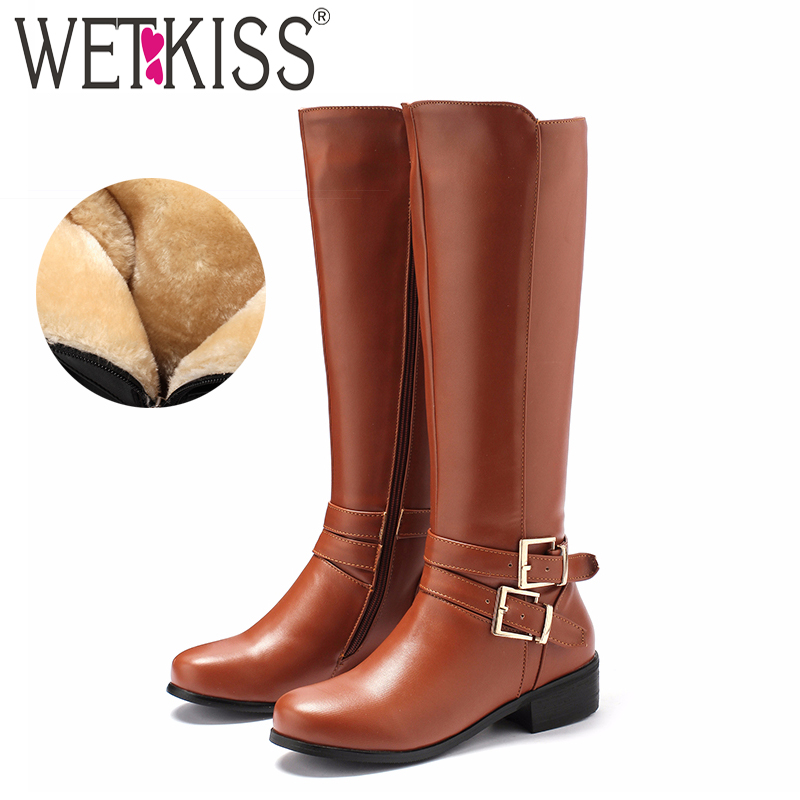 WETKISS Riding Knee High Women Boots Round Toe Footwear Low Heels Female Boot Motorcycle Shoes Woman 2018 Winter Plus Size 46 enmayer shoes woman supper high heels ankle boots for women winter boots plus size 35 46 zippers motorcycle boots round toe