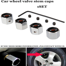 1set ANTI THEFT Auto wheel tire valve covers car wheel valve stem cap Car logo badge