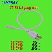 (100 Упак.) Бесплатная Доставка T5 T8 США штекер провода 50 см 100 см 200 см встроенный кабель трубки