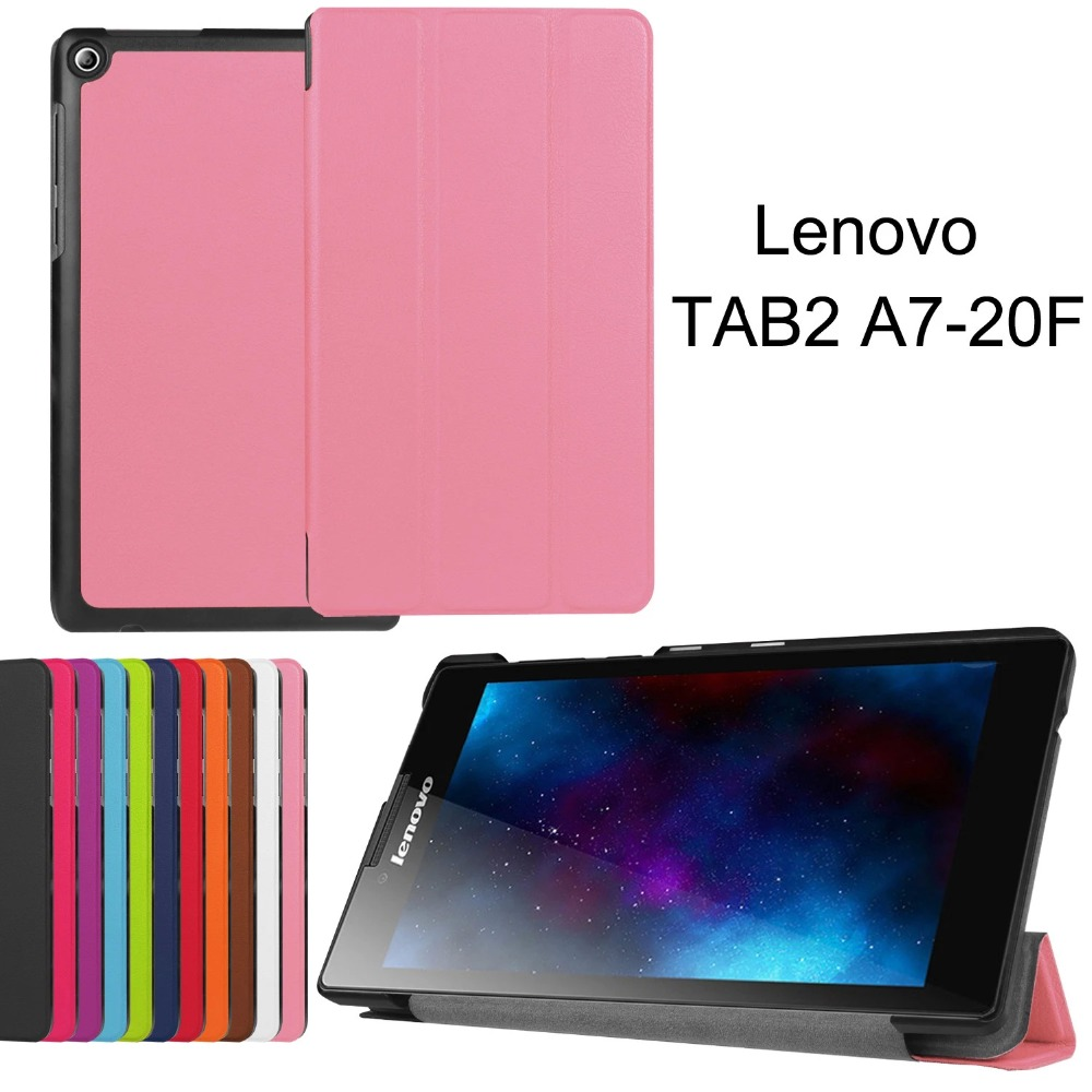 Magnet Smart PU Leather Case Flip Cover For Lenovo Tab 2 Tab2 A7-20F A7 20 A7-10f A7 10 Tablet Case Protective shell for lenovo tab 2 a7 30 2015 tablet pc protective leather stand flip case cover for lenovo a7 30 screen protector stylus pen