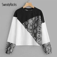 SweatyRocks Color Block Snake Skin Pullover Long Sleeve O-Neck Streetwear Jumpers Fashion