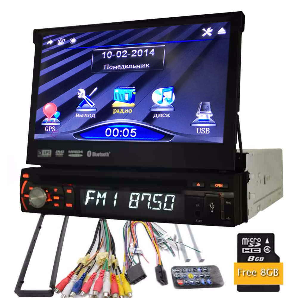 Universal 1 Din DVD Player 7 Car Stereo in dash GPS Navigation Multimedia cassette Bluetooth Head