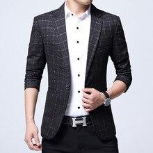 2017 Korean Style Clothing Men Striped Plaid Blazers Terno Slim Fit Male Blazer Jacket Mens Suits Chaqueta Formal Hombre Blazer