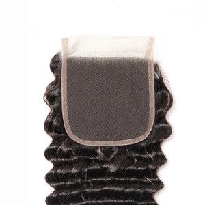 Image 5 - Onda profonda bundle con chiusura Peruviana dei capelli bundle con chiusura lanqi non remy umani Brasiliani fasci del tessuto dei capelli con chiusura